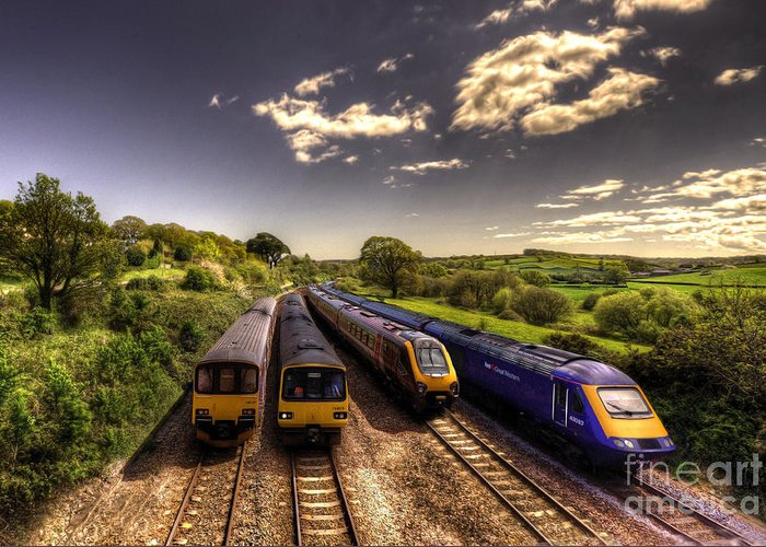Railway Greeting Card featuring the photograph Summer Saturday At Aller Junction by Rob Hawkins