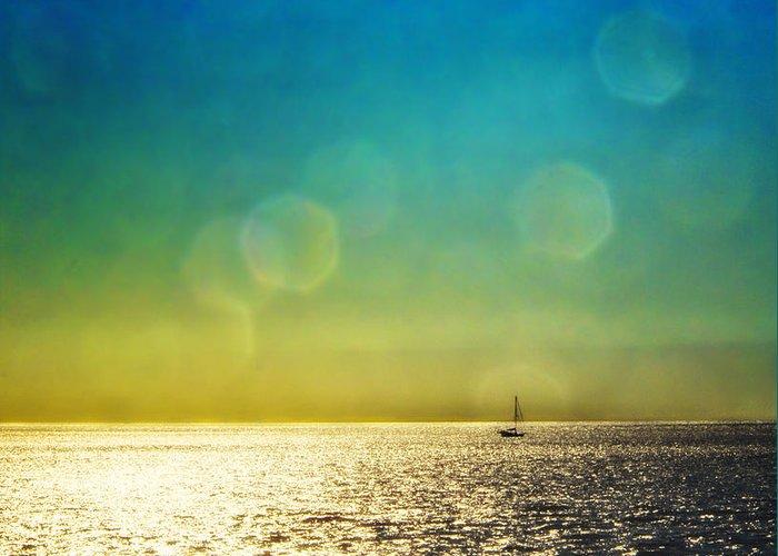Sun Greeting Card featuring the photograph Sun Flare Sail by Vicki Jauron