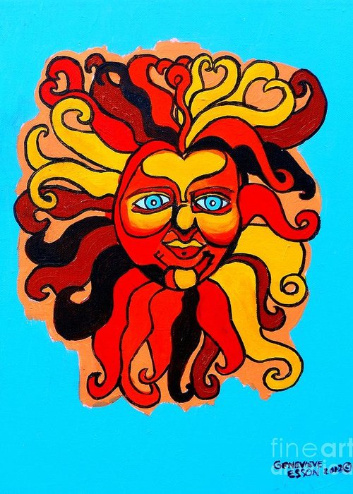 Sun Greeting Card featuring the painting Sun God II by Genevieve Esson