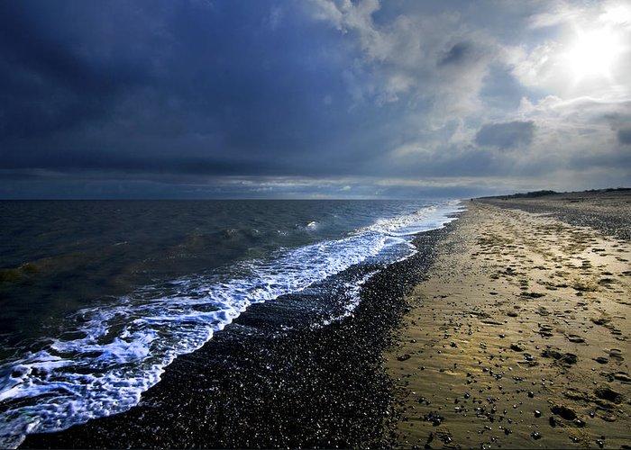 Sea Greeting Card featuring the photograph Sun Light On Dunwich Beach by Darren Burroughs