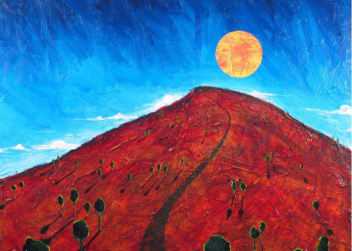 Landscape Greeting Card featuring the painting Sun Over Red Hill by Rollin Kocsis