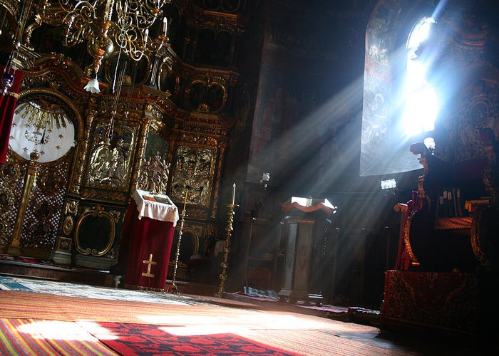 Beautiful Greeting Card featuring the photograph Sun Rays In Orthodox Church by Emanuel Tanjala