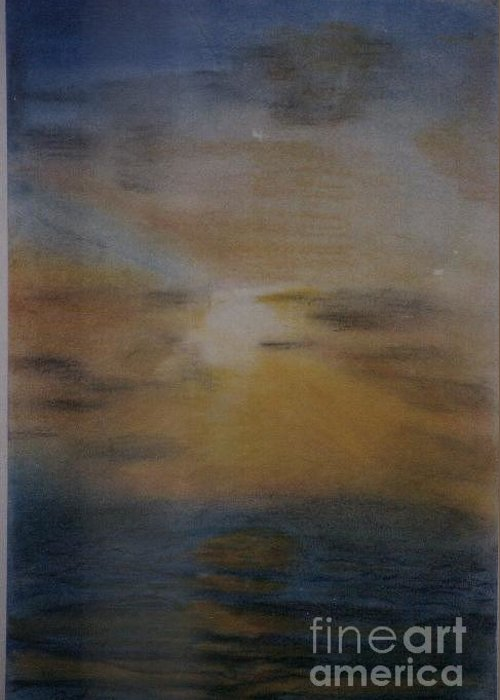 Landscape Greeting Card featuring the pastel Sun Set by Nahed Ismaeil