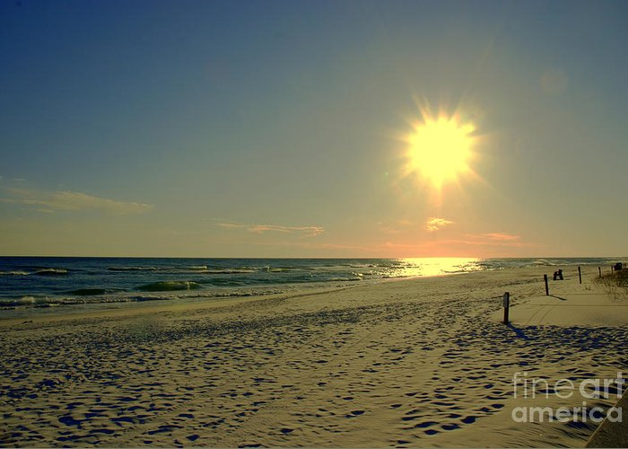 Sun Greeting Card featuring the photograph Sunburst At Henderson Beach Florida by Susanne Van Hulst