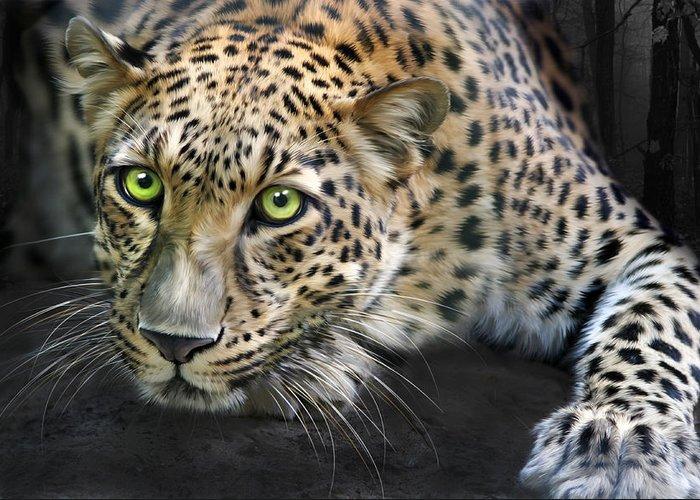 Sundari Greeting Card featuring the digital art Sundari by Big Cat Rescue