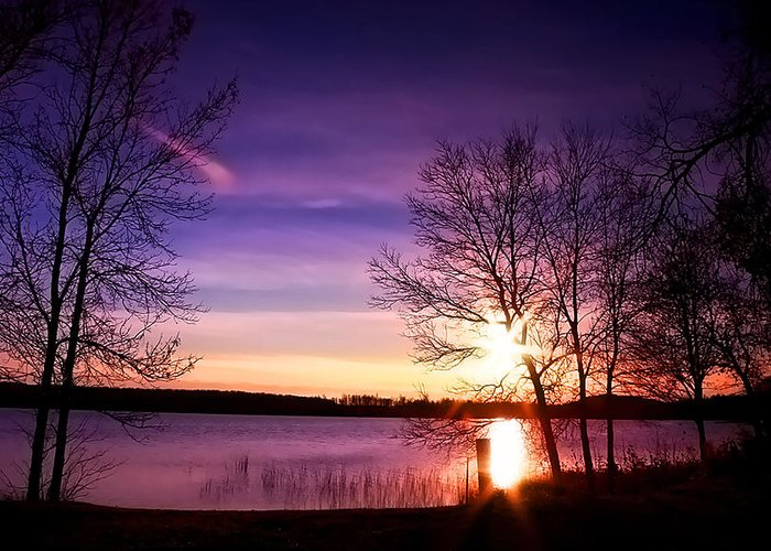 Sunset Greeting Card featuring the photograph Sunday Lake by Sherry Davis