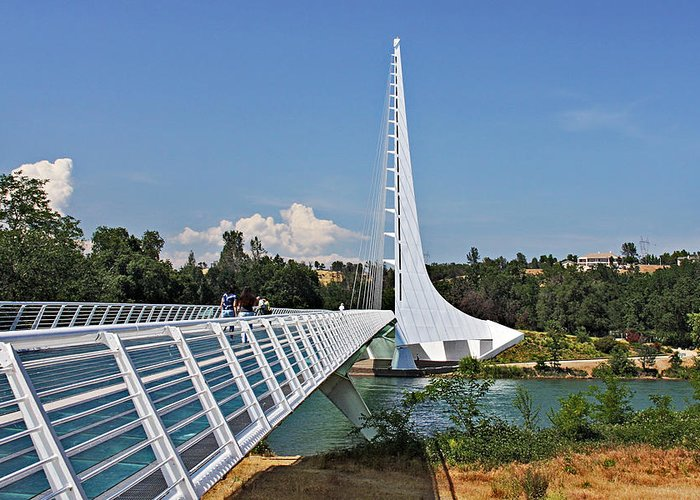 Sundial Bridge Greeting Card featuring the photograph Sundial Bridge - Sit And Watch How Time Passes By by Christine Till