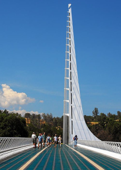 Sundial Bridge Greeting Card featuring the photograph Sundial Bridge - This Bridge Is A Glass-and-steel Sculpture by Christine Till