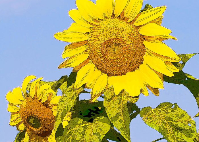 Sunflowers Greeting Card featuring the digital art Sunflowers In Morning by Artist and Photographer Laura Wrede