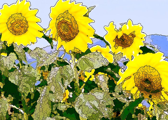 Sunflowers Greeting Card featuring the painting Sunflowers Sunbathing by Artist and Photographer Laura Wrede