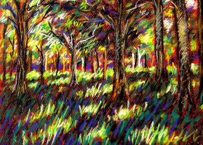Landscape Greeting Card featuring the pastel Sunlight Through The Trees by John Nolan