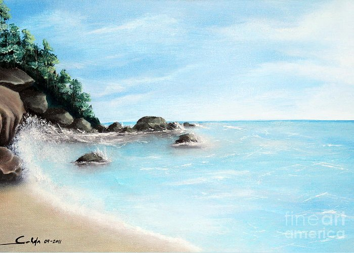 Landscape Paintings Paintings Greeting Card featuring the painting Sunny Day by Seth Corda