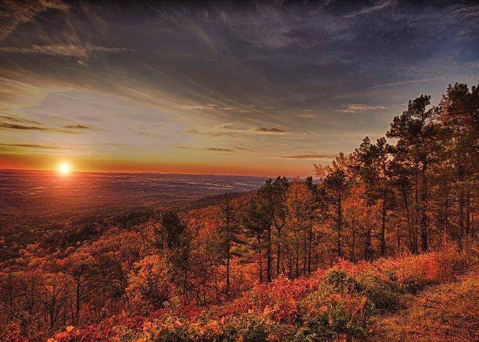 Sunrise Greeting Card featuring the photograph Sunrise 2-talimena Scenic Drive Arkansas by Douglas Barnard