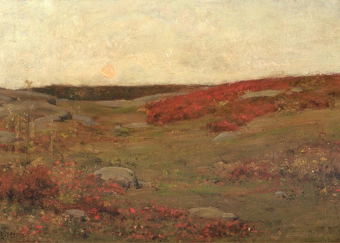 Sunrise Greeting Card featuring the painting Sunrise In Autumn by Childe Hassam