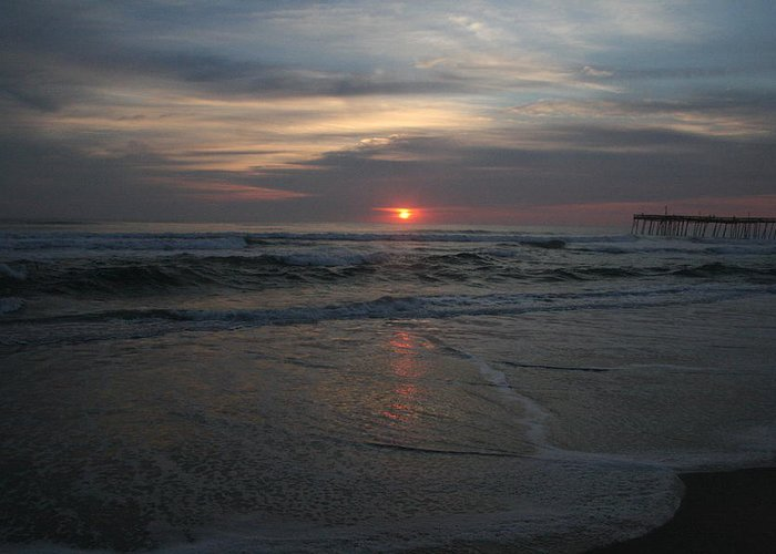 Sunrise Greeting Card featuring the photograph Sunrise Obx by Andrea Stuart-Bishop