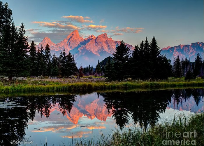Grand Tetons Greeting Card featuring the photograph Sunrise On The Tetons by Sue Karski