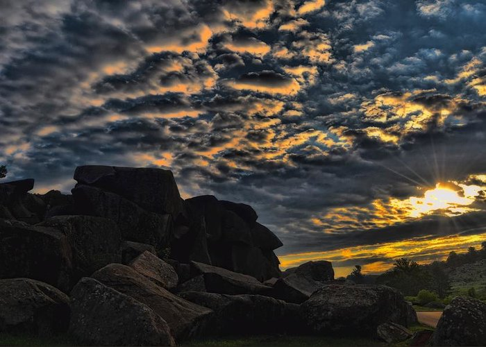 Sunrise Greeting Card featuring the photograph Sunrise Over Little Round Top by Dave Sandt