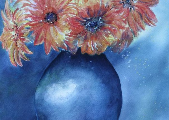 Sunburst Floral Still Life Greeting Card featuring the painting Sunrise by Patsy Sharpe