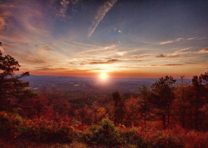 Sunrise Greeting Card featuring the photograph Sunrise-talimena Scenic Drive Arkansas by Douglas Barnard