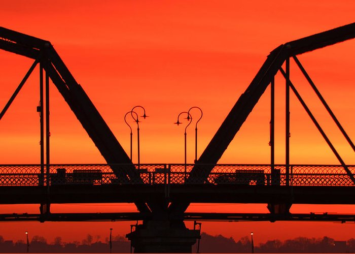 Walnut Street Bridge Greeting Card featuring the photograph Sunrise Walnut Street Bridge by Tom and Pat Cory