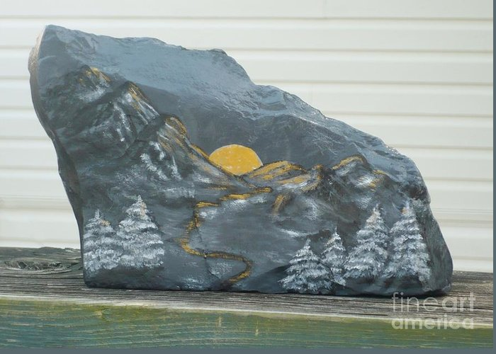 Rock Greeting Card featuring the painting Sunset And Mountains by Monika Shepherdson