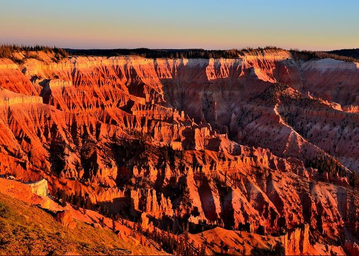 Cedar Breaks National Monument Greeting Card featuring the photograph Sunset At Cedar Breaks by Mark Bowmer