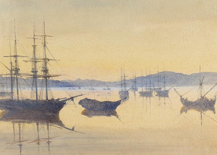 Boat Greeting Card featuring the painting Sunset At Constantinople by M Baillie Hamilton