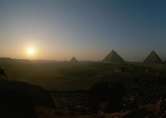 Pyramids Greeting Card featuring the photograph Sunset At Giza. Pyramids From Left by Kenneth Garrett