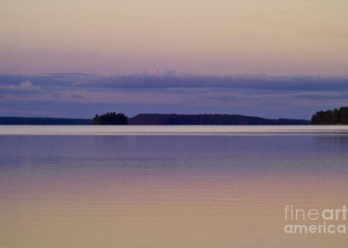 Water Greeting Card featuring the photograph Sunset At Lake Muojaervi by Heiko Koehrer-Wagner