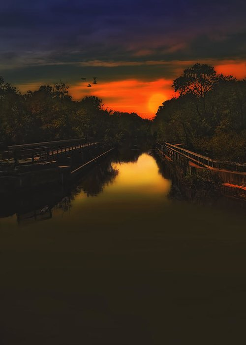 Sunset Photography Greeting Card featuring the photograph Sunset At The Old Canal by Tom York Images