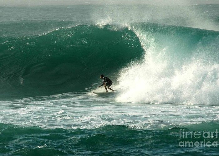 Surfing Greeting Card featuring the photograph Sunset Beach Hawai'i by Mark Gilman