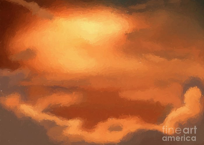Clouds Greeting Card featuring the painting Sunset Clouds by Pixel Chimp