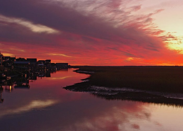 Coastal Sunset Greeting Card featuring the photograph Sunset Creek by Thomas Lovelace