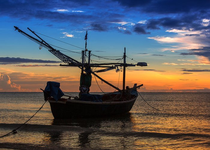 Sunset Greeting Card featuring the photograph Sunset Fisherman Boat Huahin Thailand by Arthit Somsakul