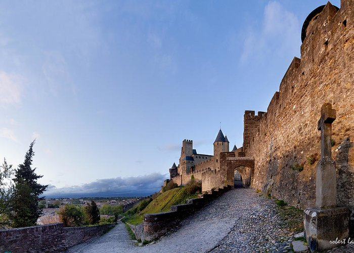 Castle Greeting Card featuring the photograph Sunset In Carcassonne by Robert Lacy