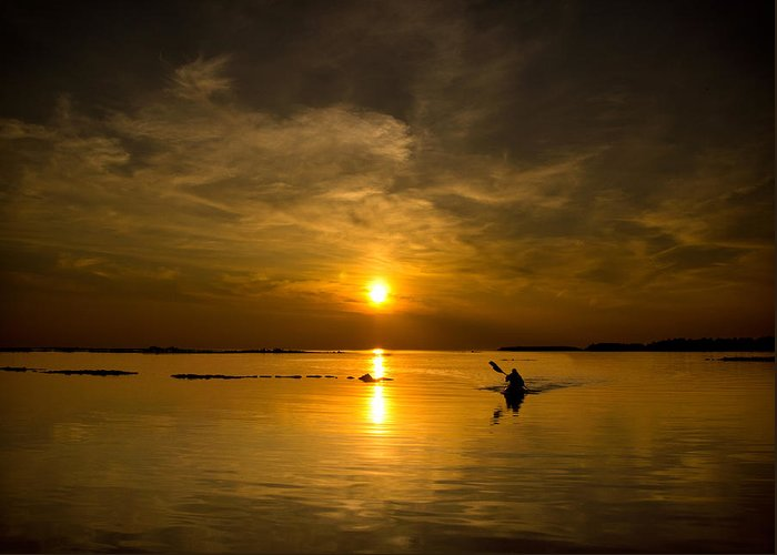Lake Greeting Card featuring the photograph Sunset Kayak by Cale Best