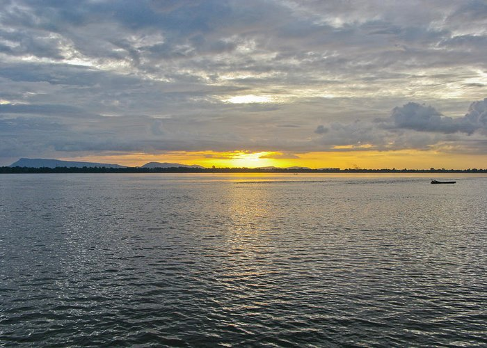 Boat Greeting Card featuring the photograph Sunset Landscape by Nawarat Namphon