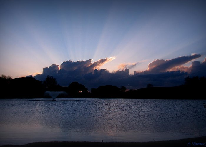 Tanoan Country Club Greeting Card featuring the photograph Sunset Light Rays Over The Pond by Aaron Burrows