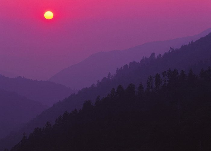 Landscapes Greeting Card featuring the photograph Sunset Morton Overlook by Chuck Wickham