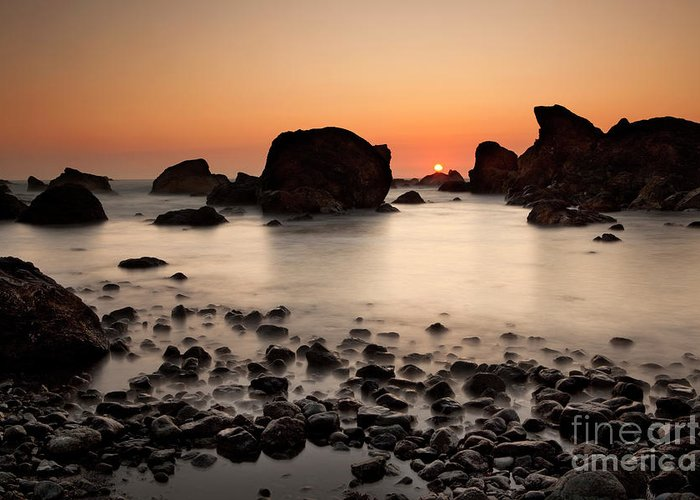 Water Photography Greeting Card featuring the photograph Sunset On A Rock by Keith Kapple