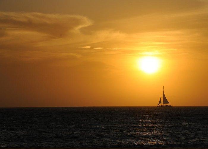 Aruba Greeting Card featuring the photograph Sunset On Aruba 1 by David Van Zet