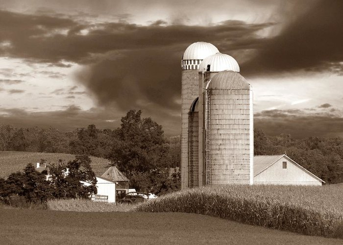 Farm Greeting Card featuring the photograph Sunset On The Farm S by David Dehner