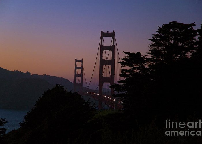Golden Gate Greeting Card featuring the photograph Sunset On The Golden Gate by Tim Mulina
