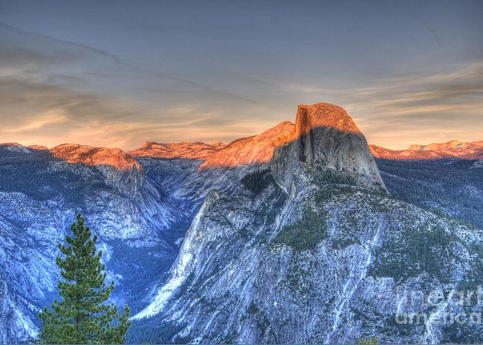 Half Dome Greeting Card featuring the photograph Sunset Over Half Dome by Jim And Emily Bush