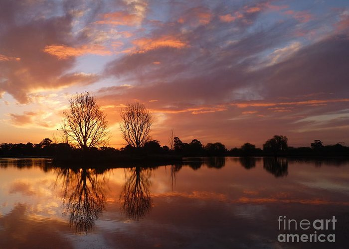 Sunset Over Lake Greeting Card featuring the photograph Sunset Over Lake At Finley by Nadine Kelly