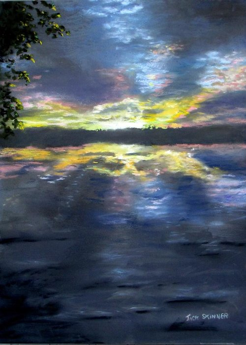 Sunset Greeting Card featuring the painting Sunset Over Mystic Lakes by Jack Skinner