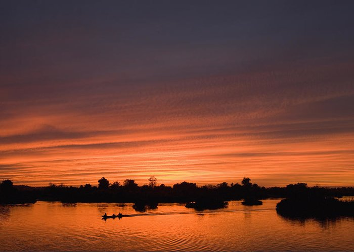 No People Greeting Card featuring the photograph Sunset Over River by Axiom Photographic