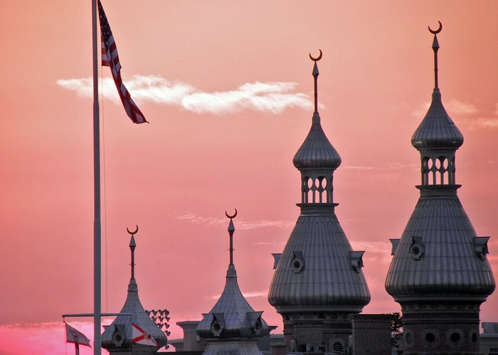 Sunset Greeting Card featuring the photograph Sunset Over The University Of Tampa by Diane Barrett
