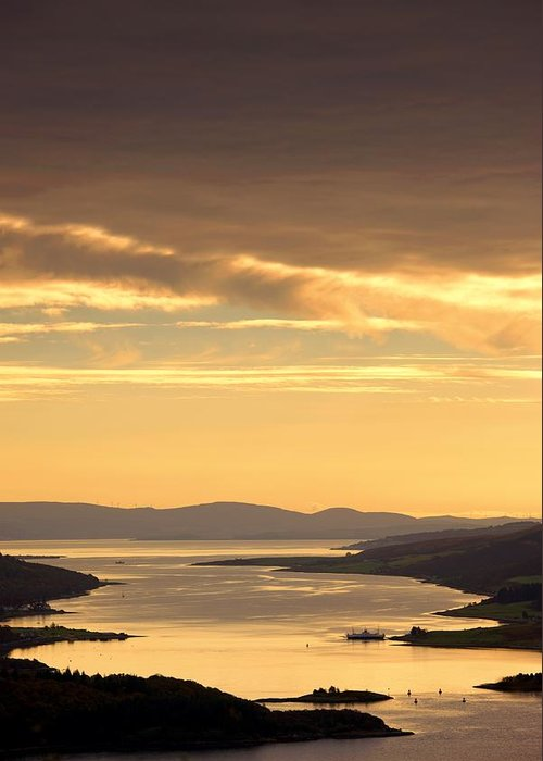 Atmosphere Greeting Card featuring the photograph Sunset Over Water, Argyll And Bute by John Short