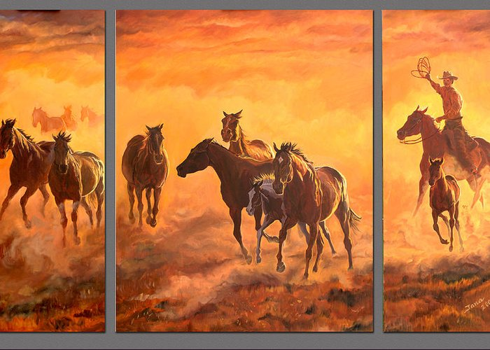 Wild Horses Greeting Card featuring the painting Sunset Run Triptych by Jana Goode